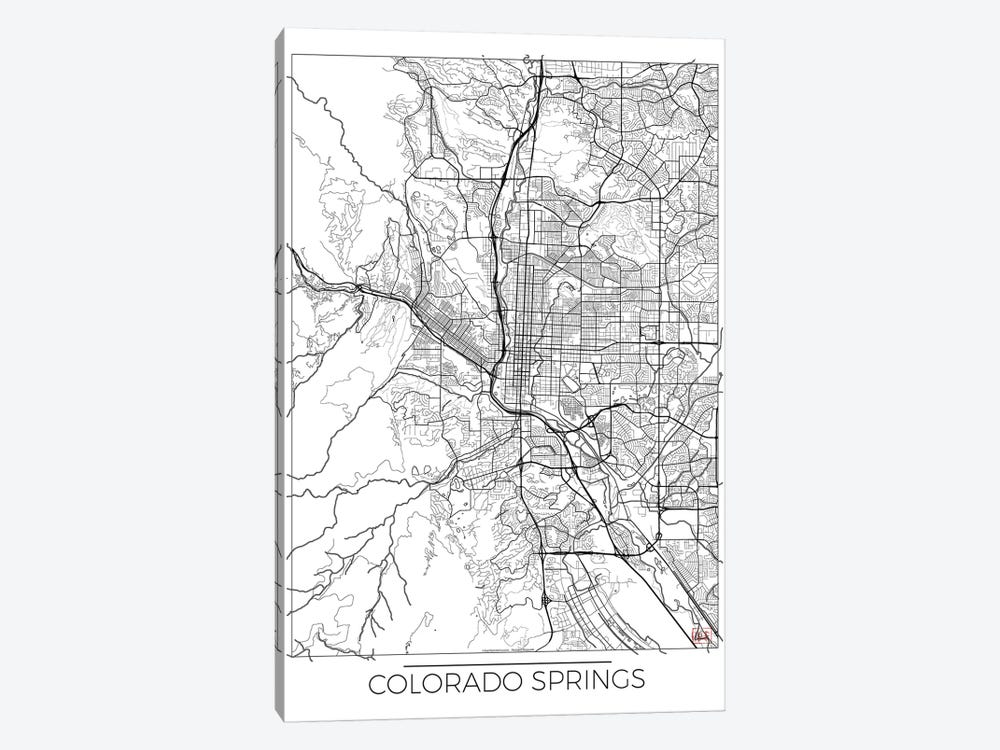 Colorado Springs Minimal Urban Blueprint Map by Hubert Roguski 1-piece Art Print