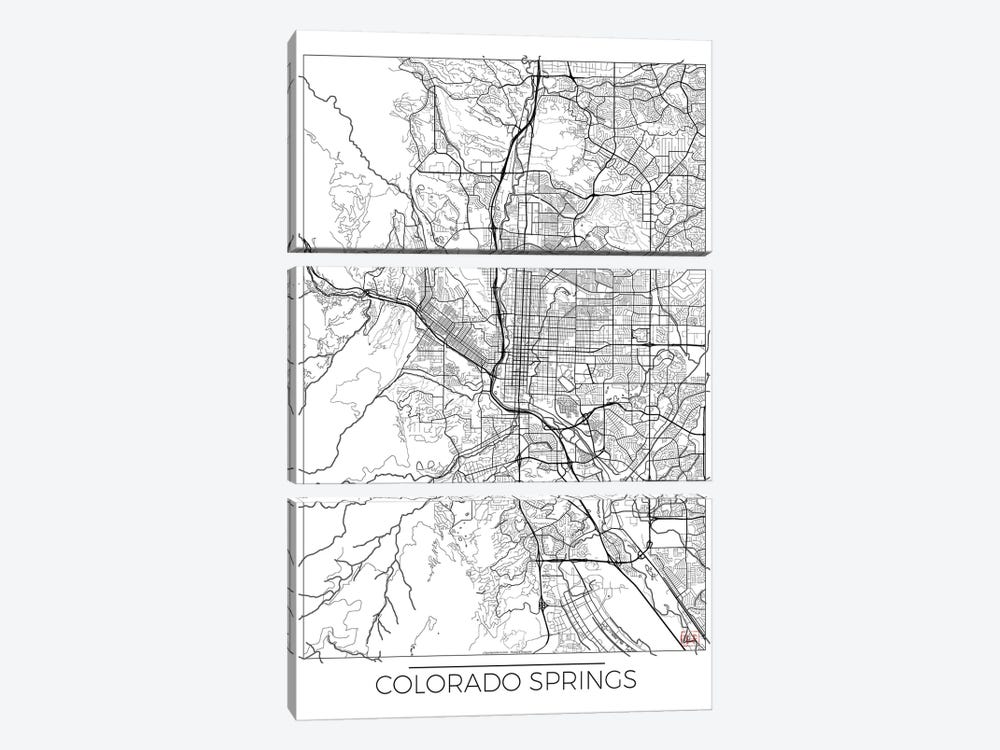 Colorado Springs Minimal Urban Blueprint Map by Hubert Roguski 3-piece Art Print