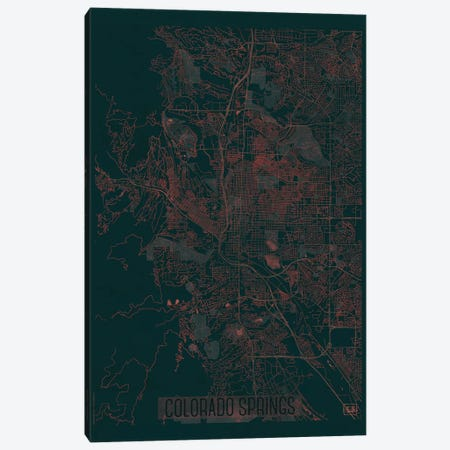 Colorado Springs Infrared Urban Blueprint Map Canvas Print #HUR101} by Hubert Roguski Canvas Art Print