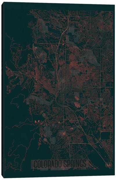 Colorado Springs Infrared Urban Blueprint Map Canvas Art Print