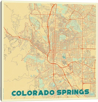 Colorado Springs Retro Urban Blueprint Map Canvas Art Print