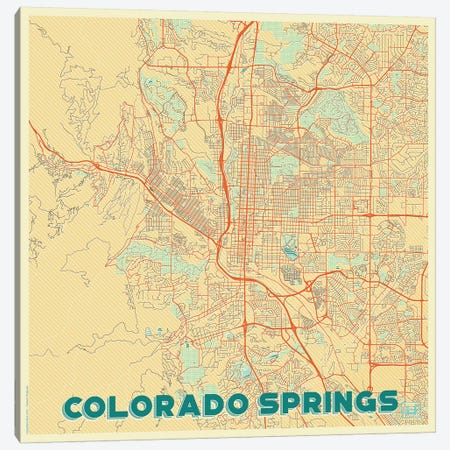 Colorado Springs Retro Urban Blueprint Map Canvas Print #HUR102} by Hubert Roguski Canvas Art Print