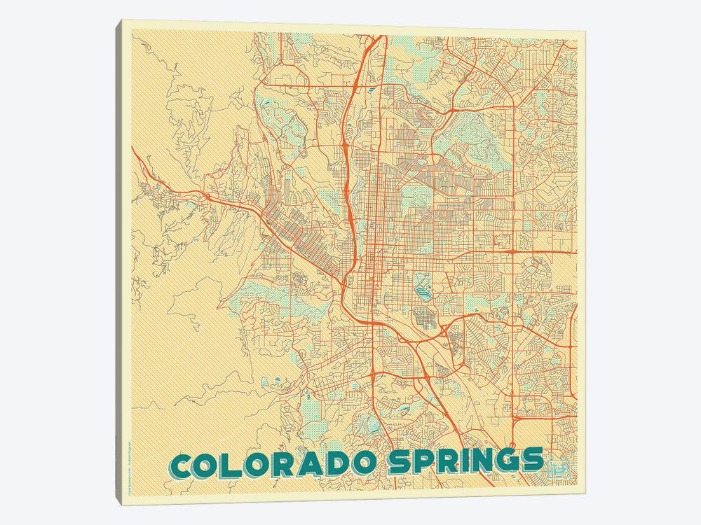 Colorado Springs Retro Urban Blueprint Map by Hubert Roguski 1-piece Canvas Art Print