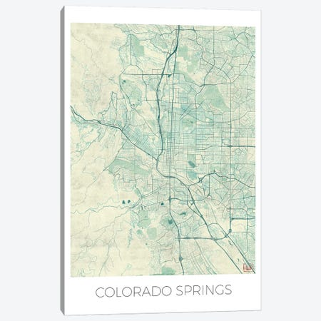 Colorado Springs Vintage Blue Watercolor Urban Blueprint Map Canvas Print #HUR103} by Hubert Roguski Art Print