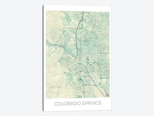 Colorado springs vintage blue watercolor urba hubert roguski colorado springs vintage blue watercolor urban blueprint map 1 piece canvas art malvernweather Image collections