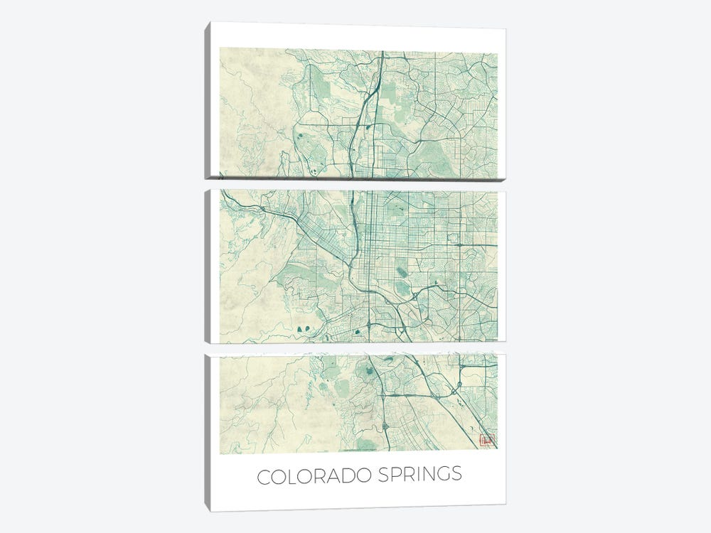 Colorado Springs Vintage Blue Watercolor Urban Blueprint Map by Hubert Roguski 3-piece Canvas Artwork