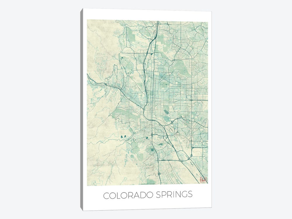 Colorado Springs Vintage Blue Watercolor Urban Blueprint Map by Hubert Roguski 1-piece Canvas Art