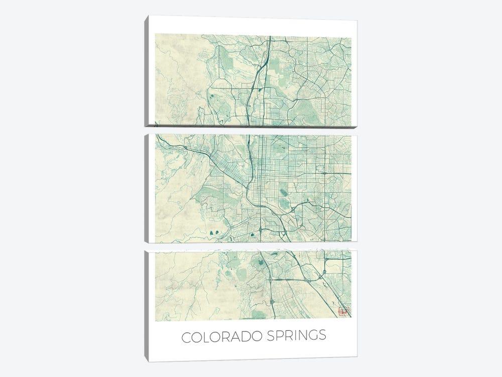 Colorado Springs Vintage Blue Watercolor Urban Blueprint Map by Hubert Roguski 3-piece Canvas Artwork