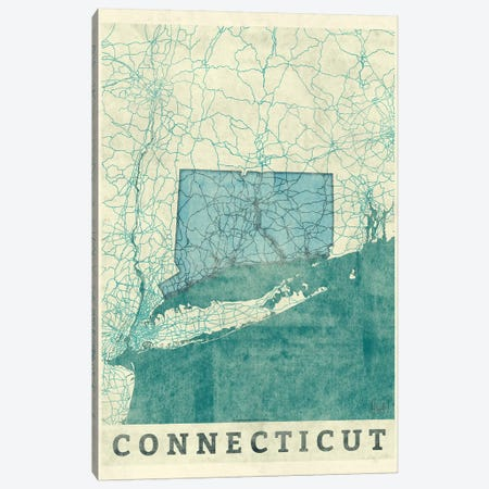 Connecticut Map Canvas Print #HUR104} by Hubert Roguski Canvas Wall Art