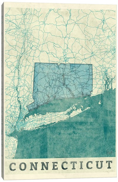 Connecticut Map Canvas Art Print