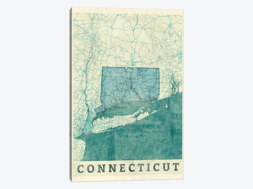 Connecticut Map 1-piece Art Print