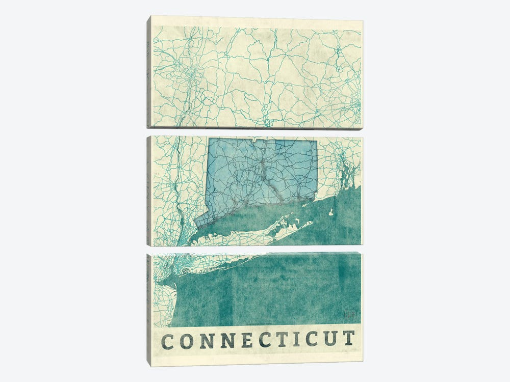 Connecticut Map 3-piece Art Print