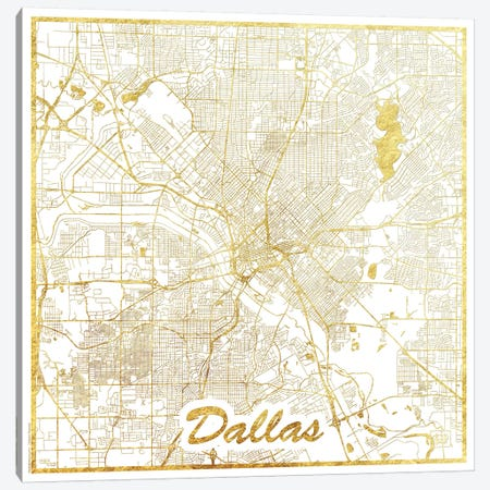 Dallas Gold Leaf Urban Blueprint Map Canvas Print #HUR105} by Hubert Roguski Canvas Art