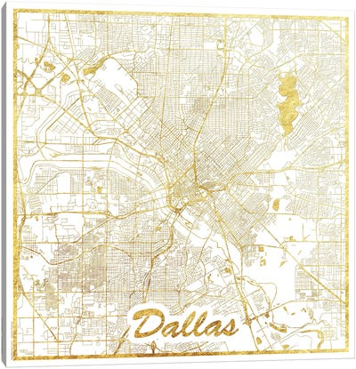 Dallas Gold Leaf Urban Blueprint Map Canvas Art Print