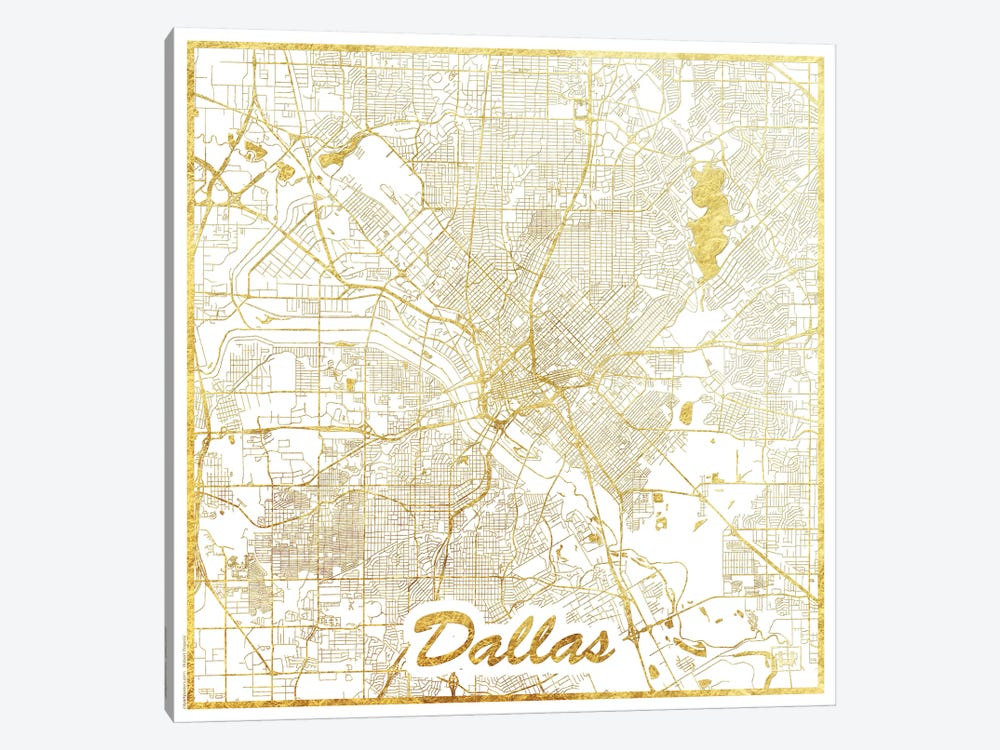 Dallas Gold Leaf Urban Blueprint Map by Hubert Roguski 1-piece Canvas Wall Art
