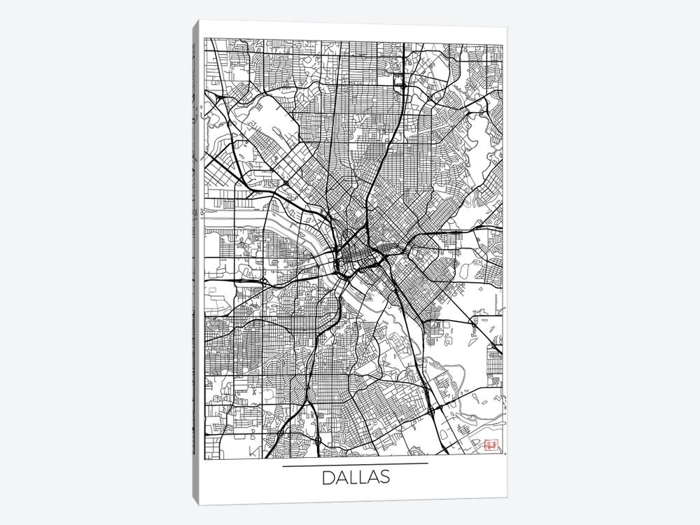 Dallas Minimal Urban Blueprint Map by Hubert Roguski 1-piece Canvas Art Print