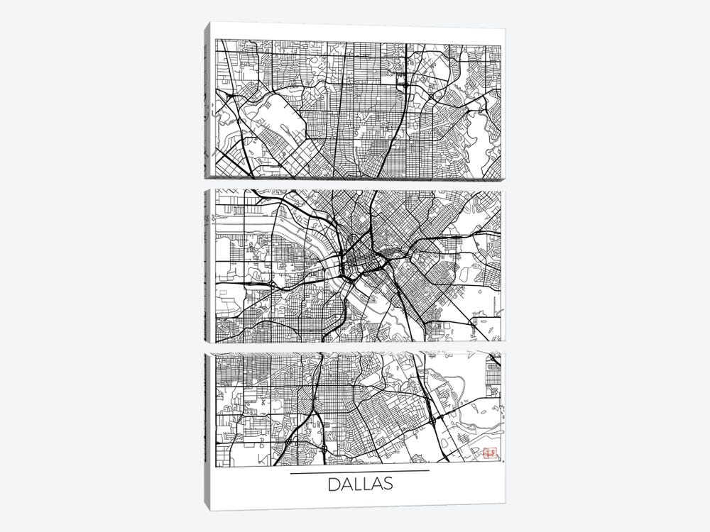 Dallas Minimal Urban Blueprint Map by Hubert Roguski 3-piece Art Print
