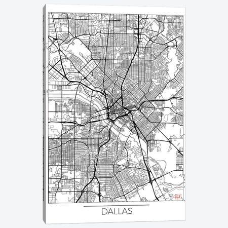 Dallas Minimal Urban Blueprint Map 3-Piece Canvas #HUR106} by Hubert Roguski Canvas Artwork