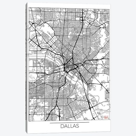 Dallas Minimal Urban Blueprint Map Canvas Print #HUR106} by Hubert Roguski Canvas Artwork