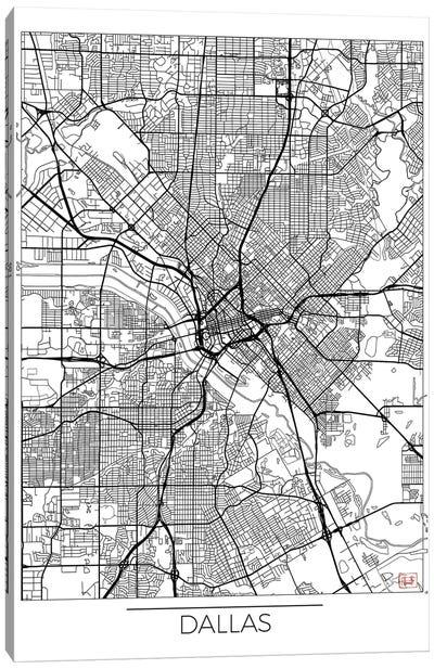 Dallas Minimal Urban Blueprint Map Canvas Art Print