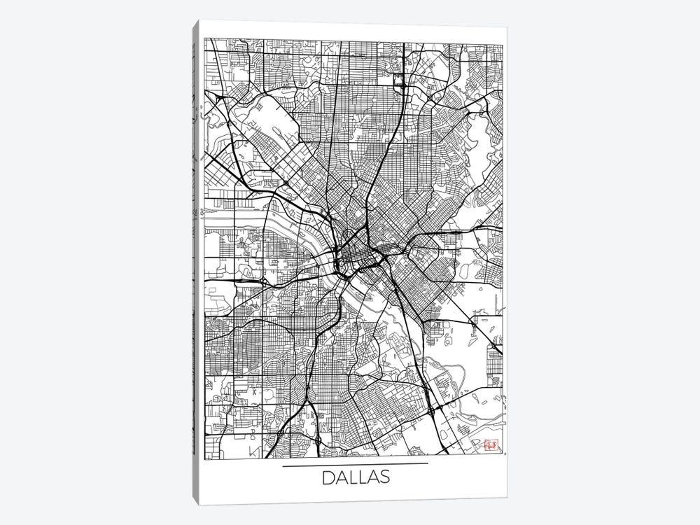 Dallas Minimal Urban Blueprint Map by Hubert Roguski 1-piece Canvas Art Print