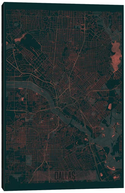 Dallas Infrared Urban Blueprint Map Canvas Art Print