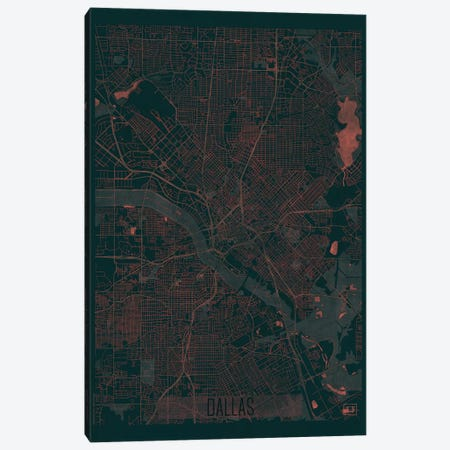 Dallas Infrared Urban Blueprint Map Canvas Print #HUR107} by Hubert Roguski Canvas Wall Art