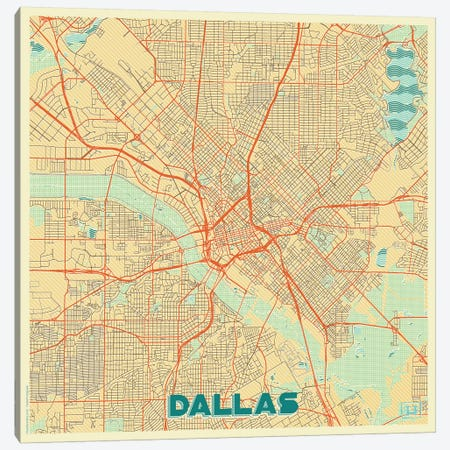 Dallas Retro Urban Blueprint Map Canvas Print #HUR108} by Hubert Roguski Canvas Art Print