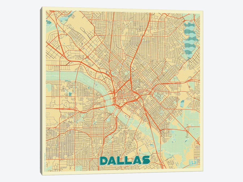 Dallas Retro Urban Blueprint Map by Hubert Roguski 1-piece Canvas Art Print
