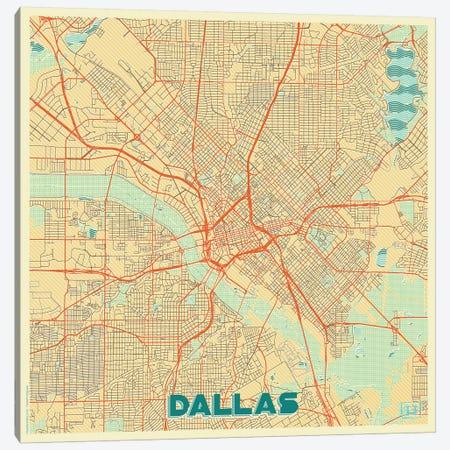 Dallas Retro Urban Blueprint Map Canvas Print #HUR108} by Hubert Roguski Canvas Art Print