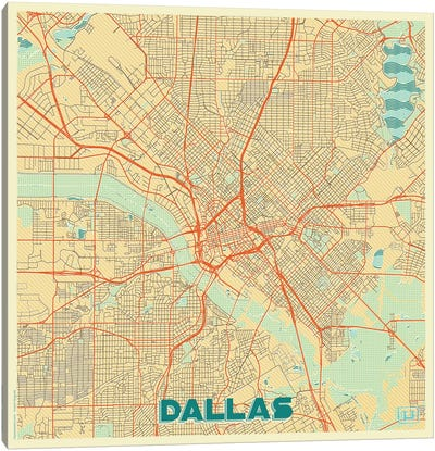 Dallas Retro Urban Blueprint Map Canvas Art Print