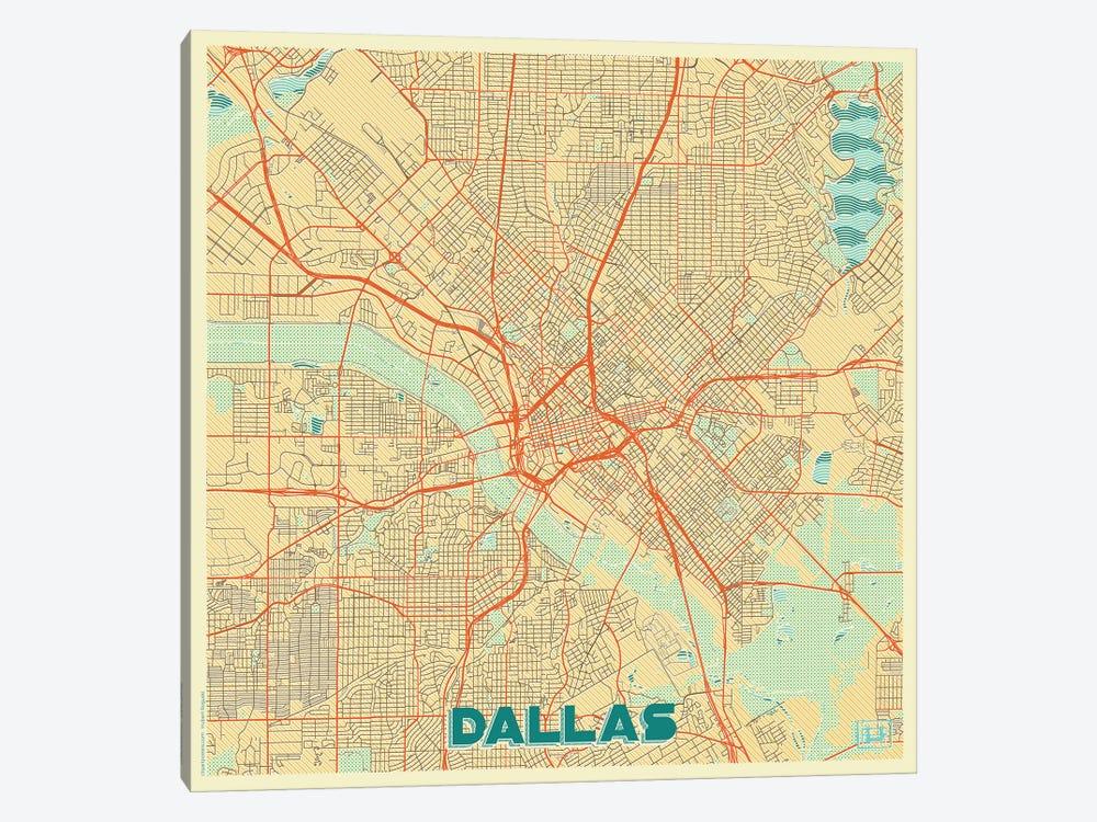 Dallas Retro Urban Blueprint Map by Hubert Roguski 1-piece Canvas Art Print
