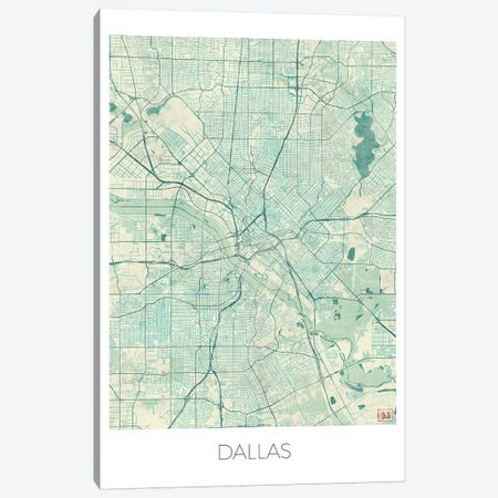 Dallas Vintage Blue Watercolor Urban Blueprint Map Canvas Print #HUR109} by Hubert Roguski Canvas Art Print