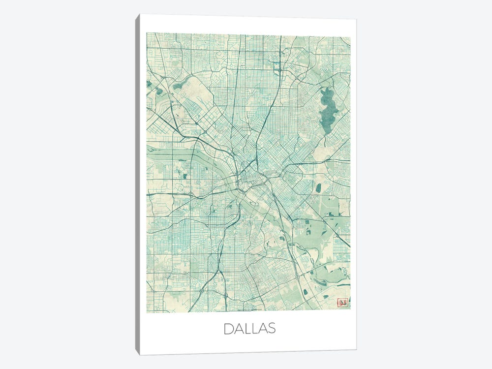Dallas Vintage Blue Watercolor Urban Blueprint Map by Hubert Roguski 1-piece Canvas Artwork