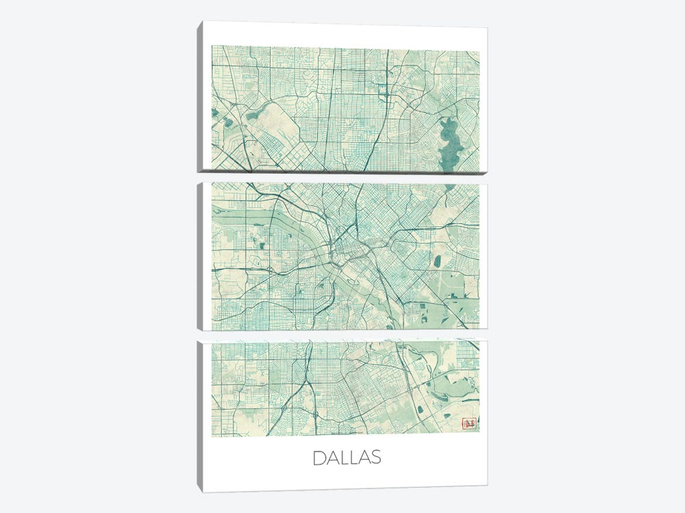 Dallas Vintage Blue Watercolor Urban Blueprint Map by Hubert Roguski 3-piece Canvas Art