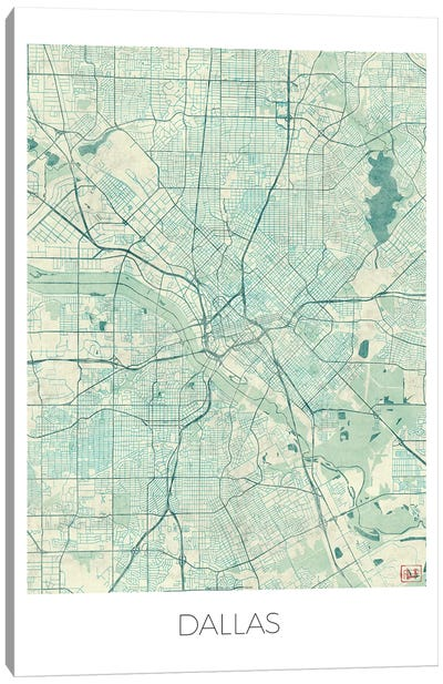 Dallas Vintage Blue Watercolor Urban Blueprint Map Canvas Art Print