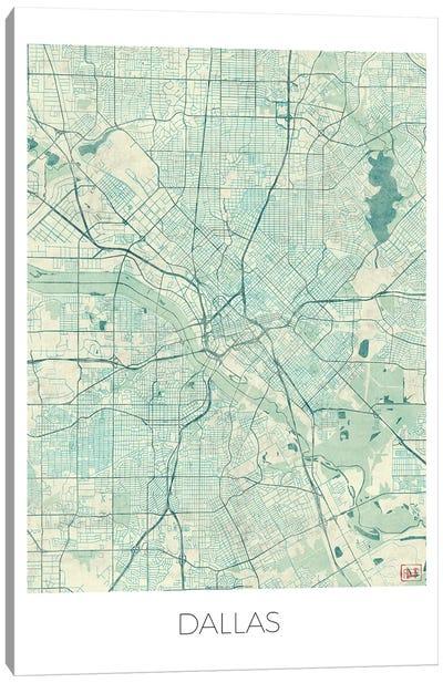 Dallas Vintage Blue Watercolor Urban Blueprint Map Canvas Art Print