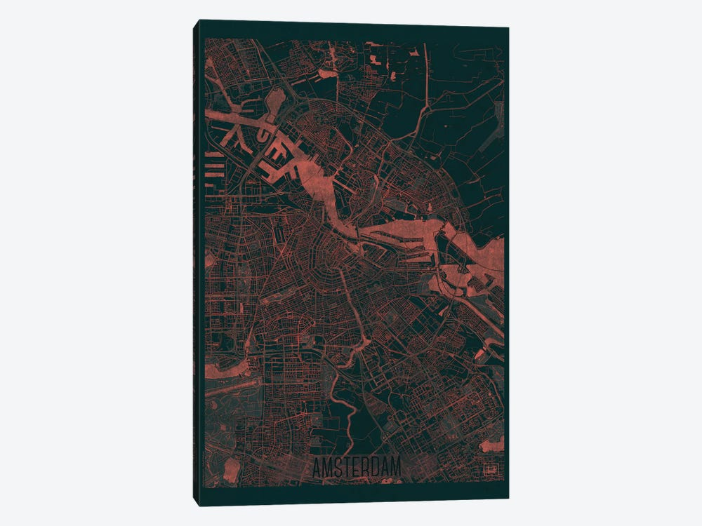 Amsterdam Infrared Urban Blueprint Map by Hubert Roguski 1-piece Canvas Art Print