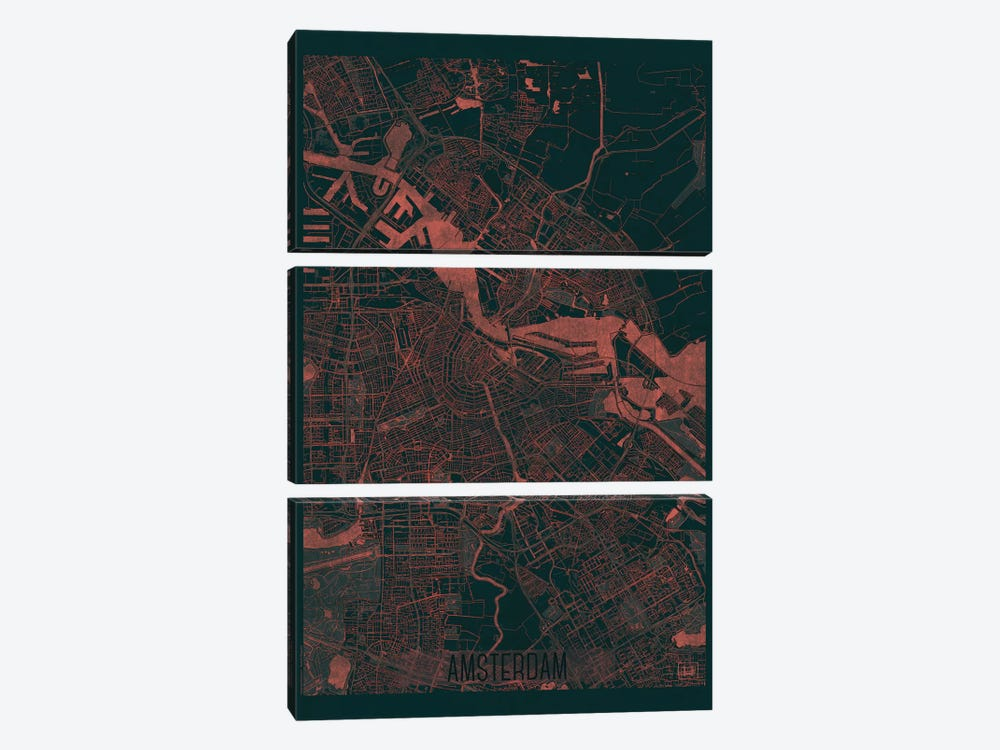 Amsterdam Infrared Urban Blueprint Map by Hubert Roguski 3-piece Art Print