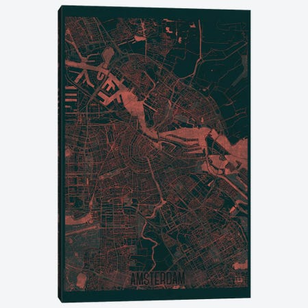 Amsterdam Infrared Urban Blueprint Map 3-Piece Canvas #HUR10} by Hubert Roguski Canvas Artwork