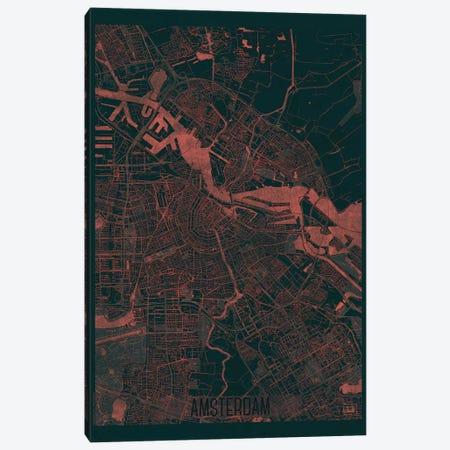 Amsterdam Infrared Urban Blueprint Map Canvas Print #HUR10} by Hubert Roguski Canvas Artwork