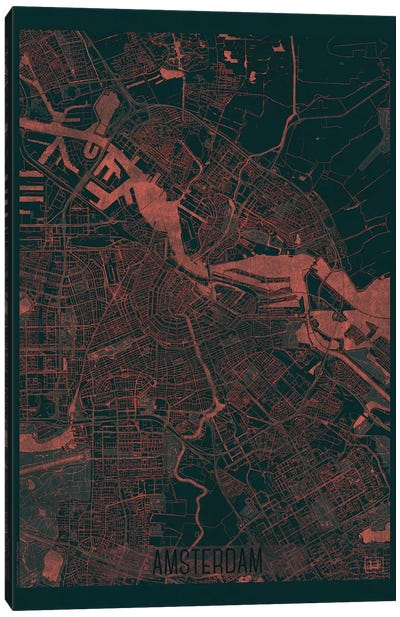 Amsterdam Infrared Urban Blueprint Map Canvas Art Print