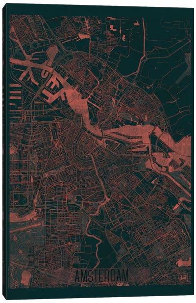 Amsterdam Infrared Urban Blueprint Map Canvas Art Print
