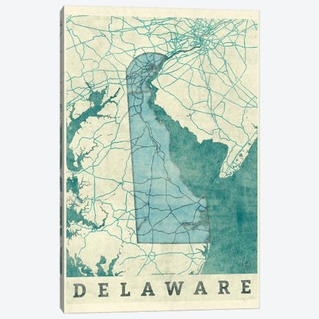 Delaware Map Canvas Print #HUR110} by Hubert Roguski Canvas Artwork