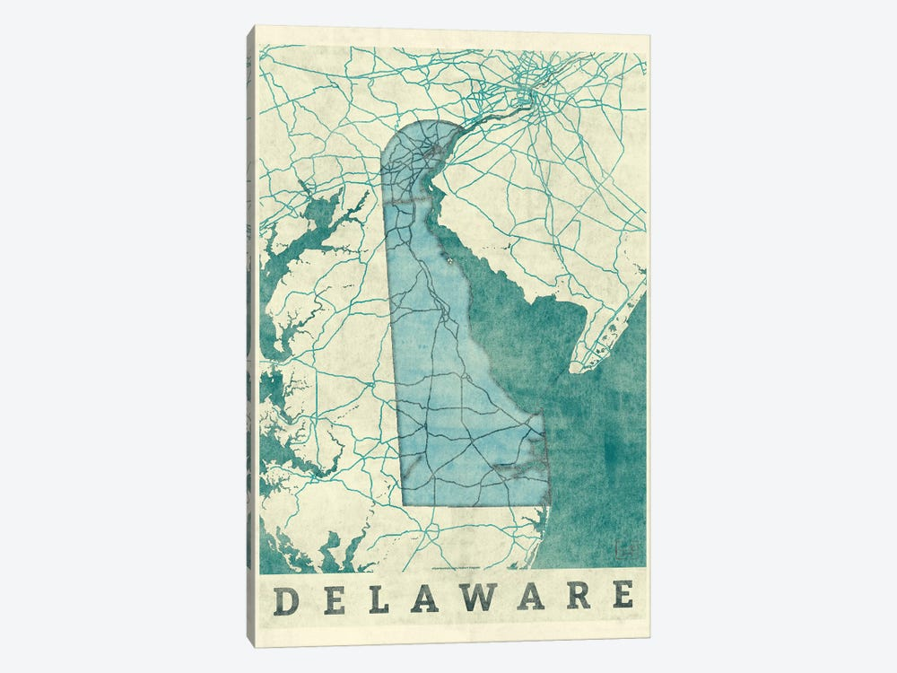 Delaware Map by Hubert Roguski 1-piece Canvas Art