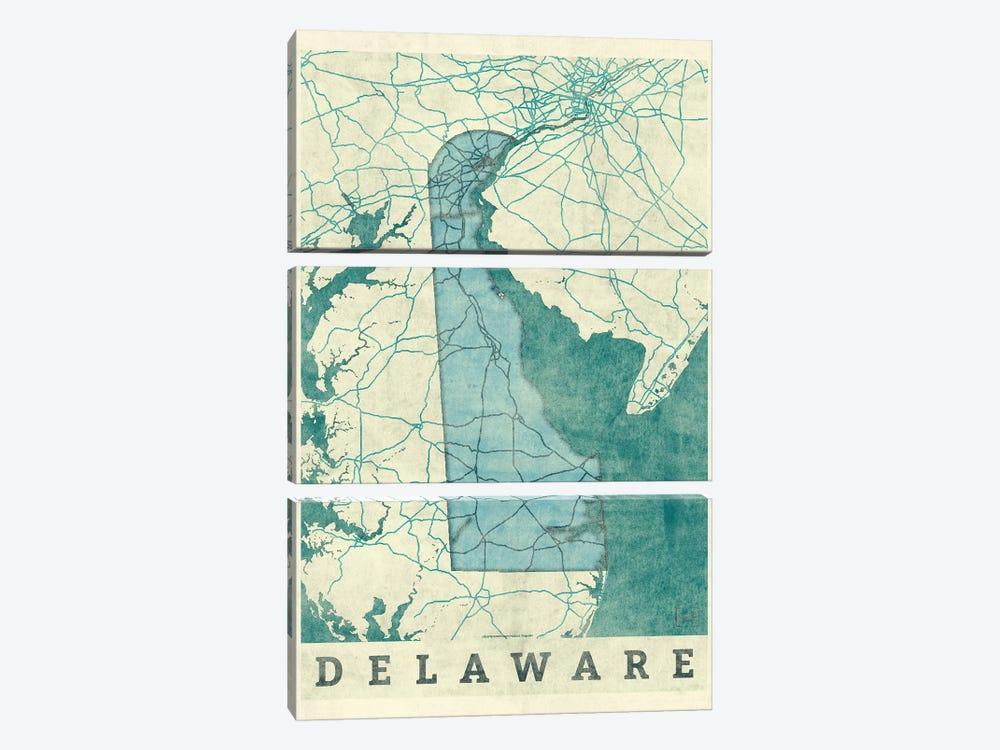 Delaware Map by Hubert Roguski 3-piece Canvas Wall Art