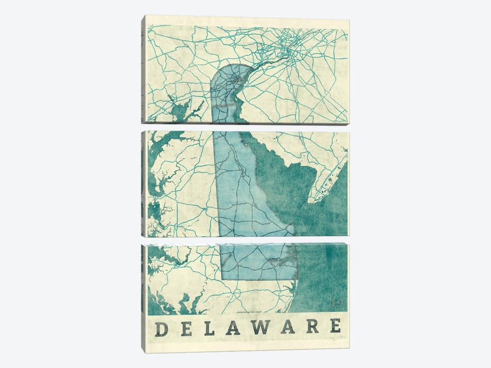 Delaware Map 3-piece Canvas Wall Art