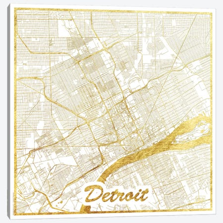 Detroit Gold Leaf Urban Blueprint Map Canvas Print #HUR111} by Hubert Roguski Canvas Artwork