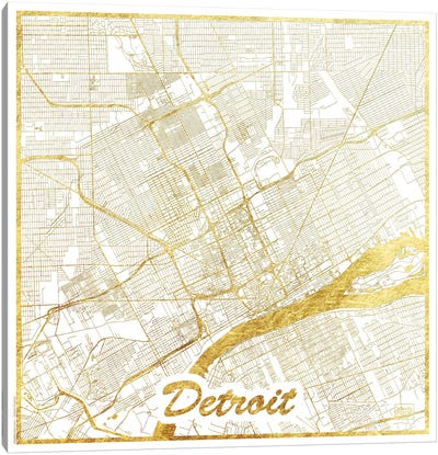 Detroit Gold Leaf Urban Blueprint Map Canvas Art Print