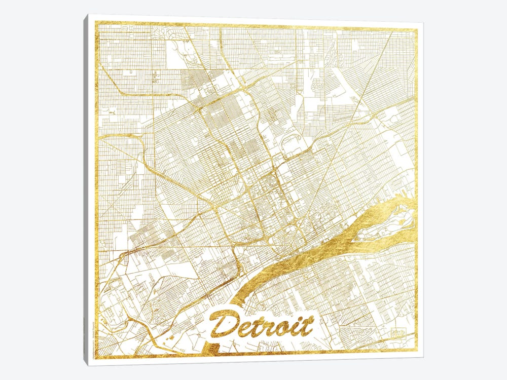 Detroit Gold Leaf Urban Blueprint Map by Hubert Roguski 1-piece Canvas Print